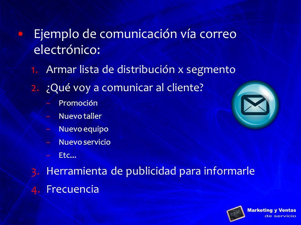 Ejemplo de comunicación vía correo electrónico: 1.Armar lista de distribución x segmento 2.¿Qué voy a comunicar al cliente? –Promoción –Nuevo taller –