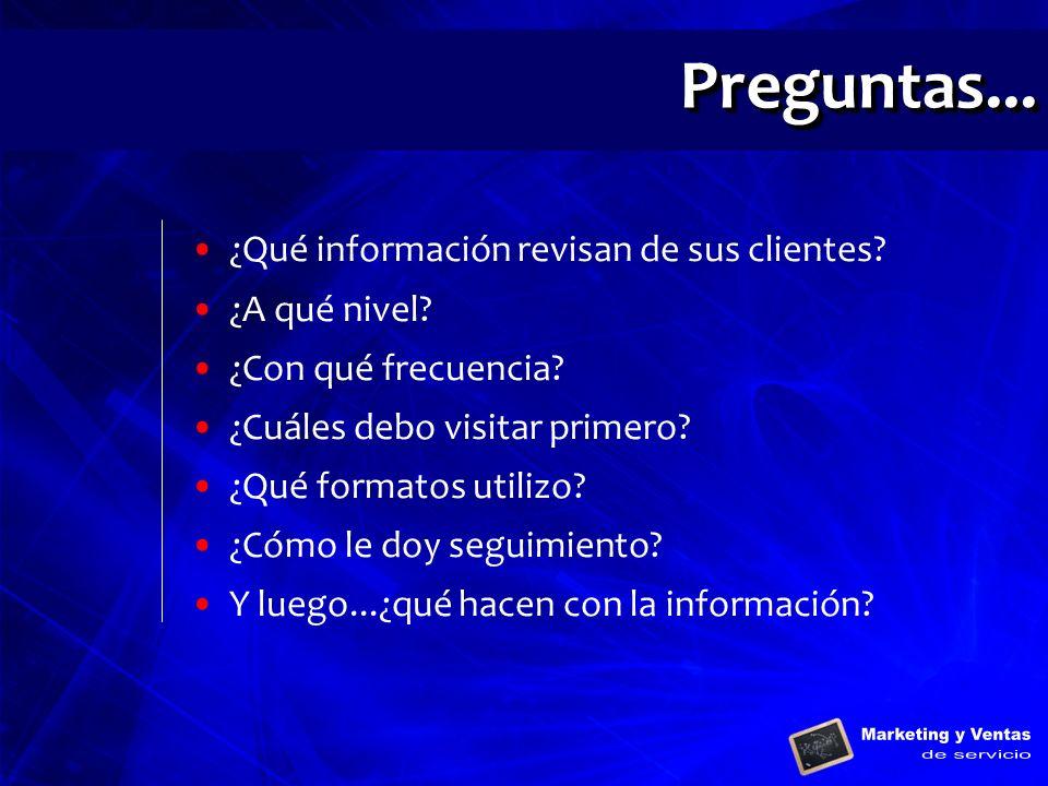 ¿Qué información revisan de sus clientes? ¿A qué nivel? ¿Con qué frecuencia? ¿Cuáles debo visitar primero? ¿Qué formatos utilizo? ¿Cómo le doy seguimi