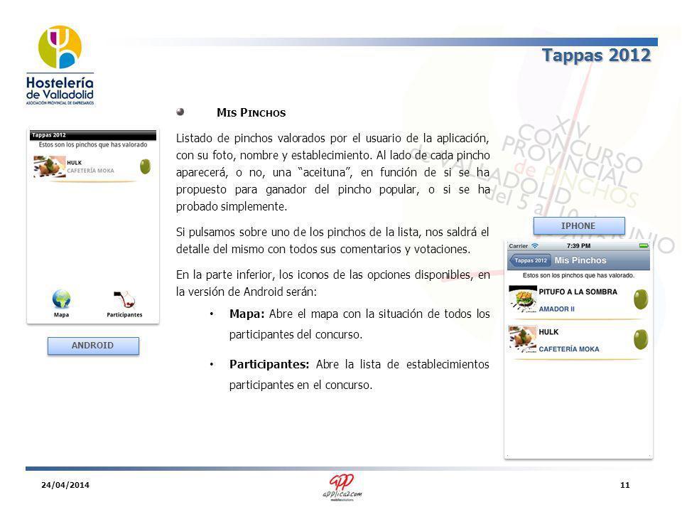 Tappas 2012 M IS P INCHOS Listado de pinchos valorados por el usuario de la aplicación, con su foto, nombre y establecimiento.