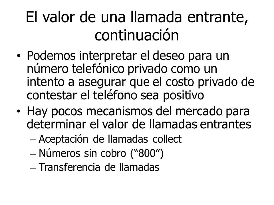 El valor de una llamada entrante, continuación Podemos interpretar el deseo para un número telefónico privado como un intento a asegurar que el costo