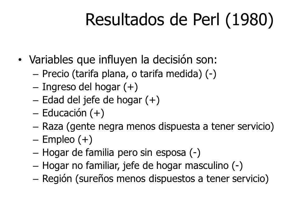 Resultados de Perl (1980) Variables que influyen la decisión son: – Precio (tarifa plana, o tarifa medida) (-) – Ingreso del hogar (+) – Edad del jefe