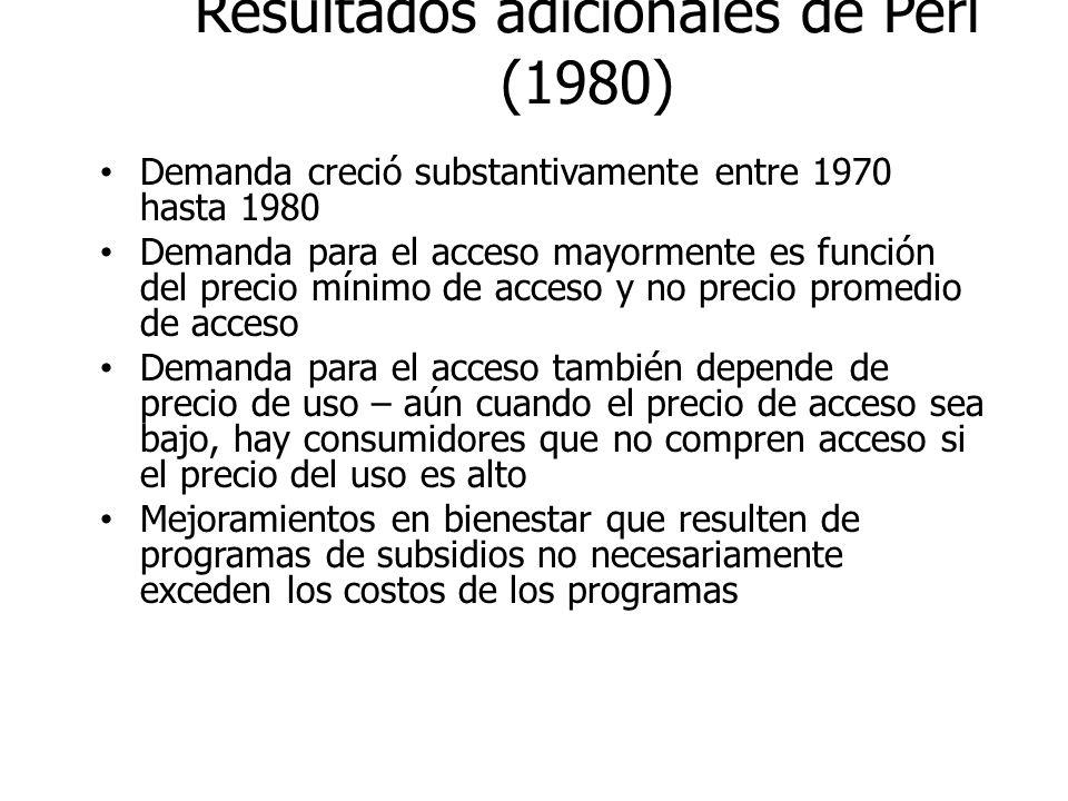 Resultados adicionales de Perl (1980) Demanda creció substantivamente entre 1970 hasta 1980 Demanda para el acceso mayormente es función del precio mí