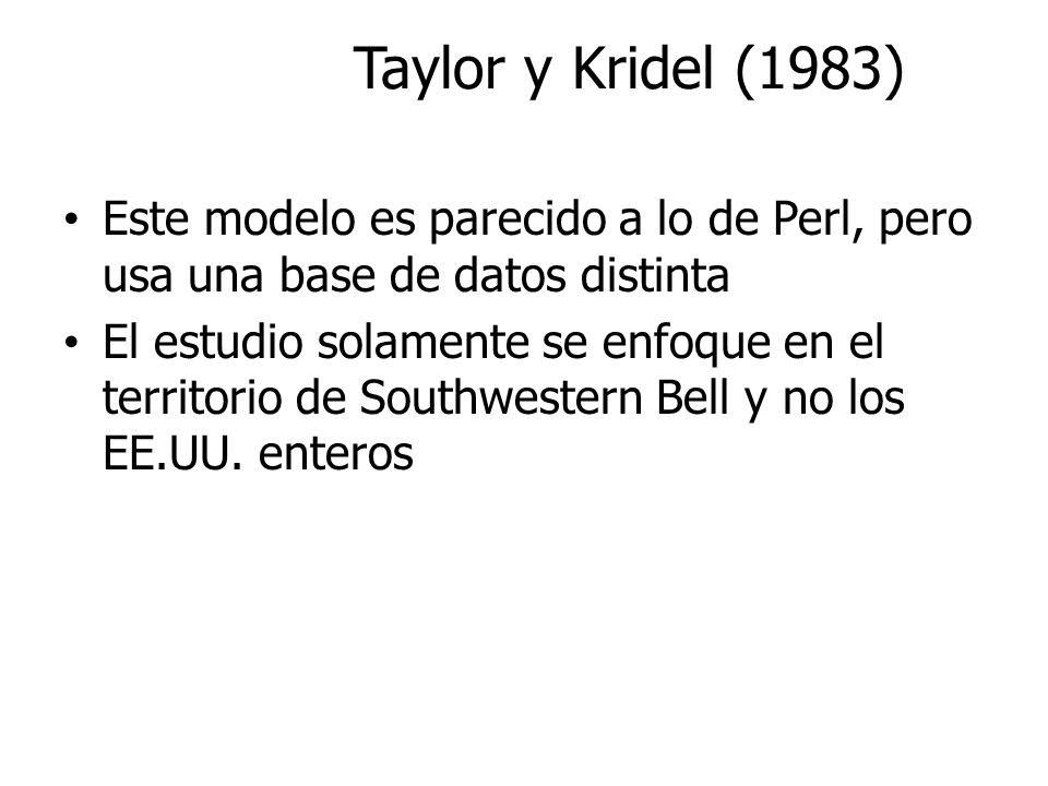 Taylor y Kridel (1983) Este modelo es parecido a lo de Perl, pero usa una base de datos distinta El estudio solamente se enfoque en el territorio de S