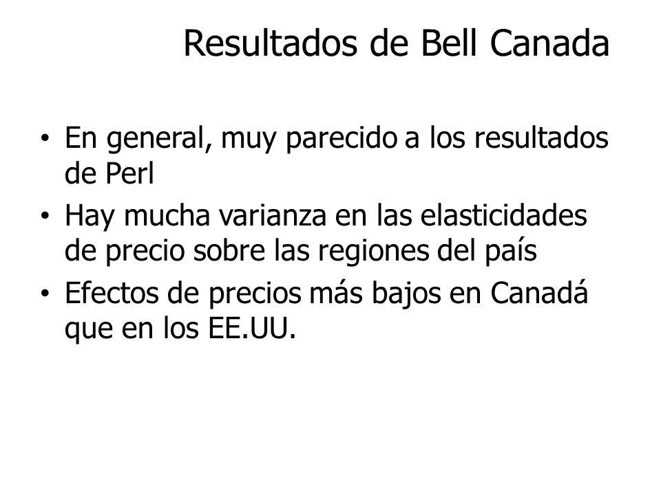 Resultados de Bell Canada En general, muy parecido a los resultados de Perl Hay mucha varianza en las elasticidades de precio sobre las regiones del p