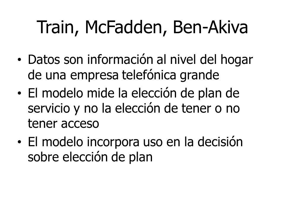 Train, McFadden, Ben-Akiva Datos son información al nivel del hogar de una empresa telefónica grande El modelo mide la elección de plan de servicio y
