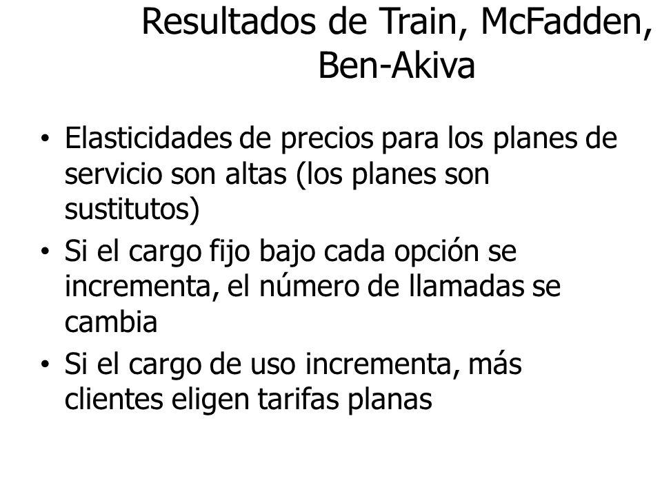 Resultados de Train, McFadden, Ben-Akiva Elasticidades de precios para los planes de servicio son altas (los planes son sustitutos) Si el cargo fijo b