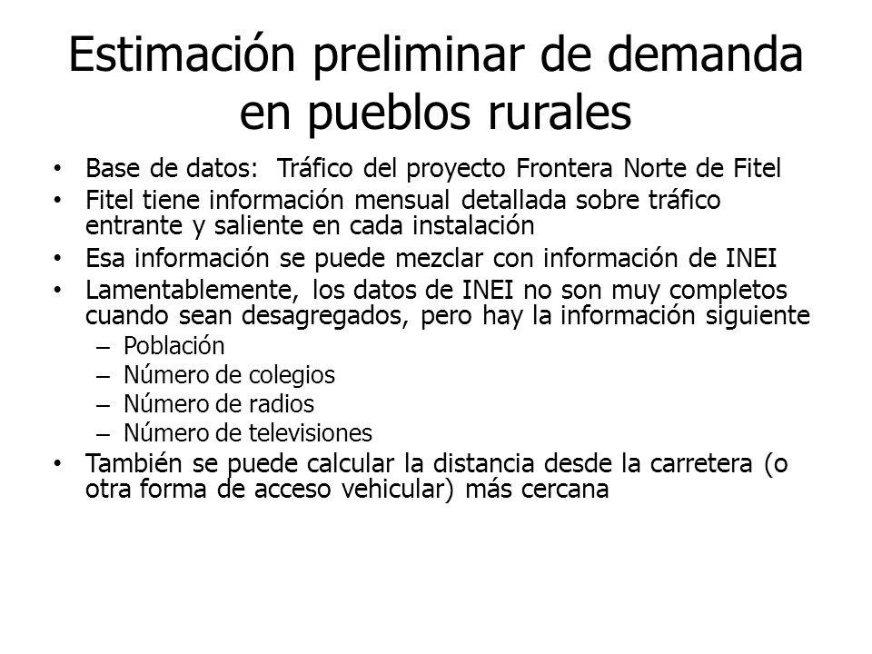 Estimación preliminar de demanda en pueblos rurales Base de datos: Tráfico del proyecto Frontera Norte de Fitel Fitel tiene información mensual detall