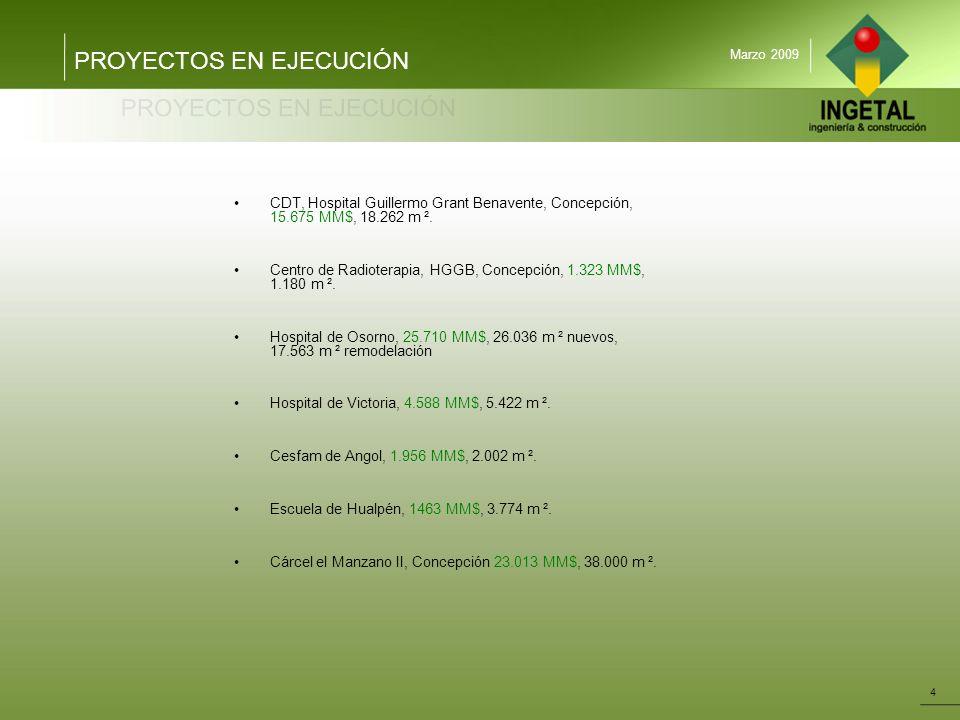 PROYECTOS EN EJECUCIÓN 4 Marzo 2009 CDT, Hospital Guillermo Grant Benavente, Concepción, 15.675 MM$, 18.262 m ². Centro de Radioterapia, HGGB, Concepc