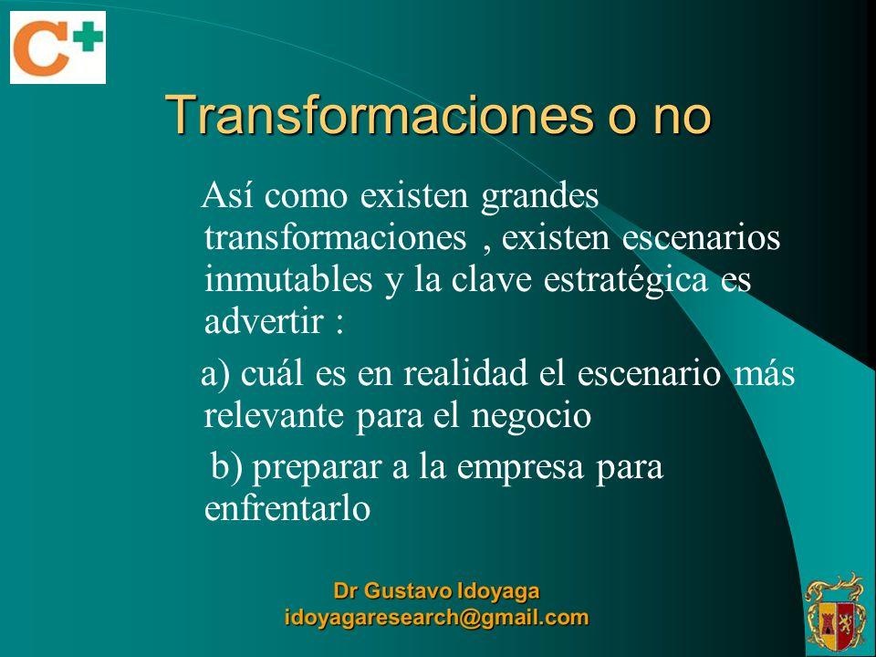 Transformaciones o no Así como existen grandes transformaciones, existen escenarios inmutables y la clave estratégica es advertir : a) cuál es en real