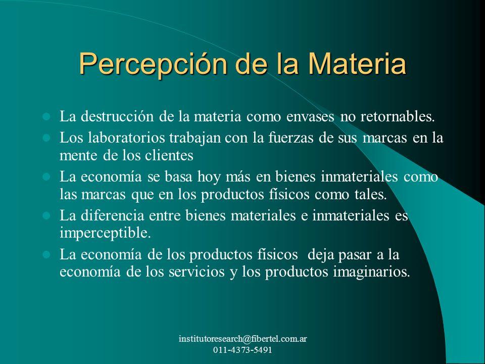 Percepción de la Materia La destrucción de la materia como envases no retornables. Los laboratorios trabajan con la fuerzas de sus marcas en la mente