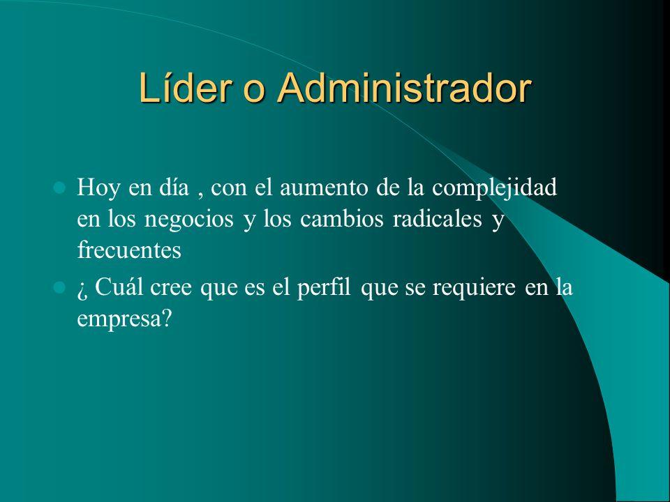 Líder o Administrador Hoy en día, con el aumento de la complejidad en los negocios y los cambios radicales y frecuentes ¿ Cuál cree que es el perfil q