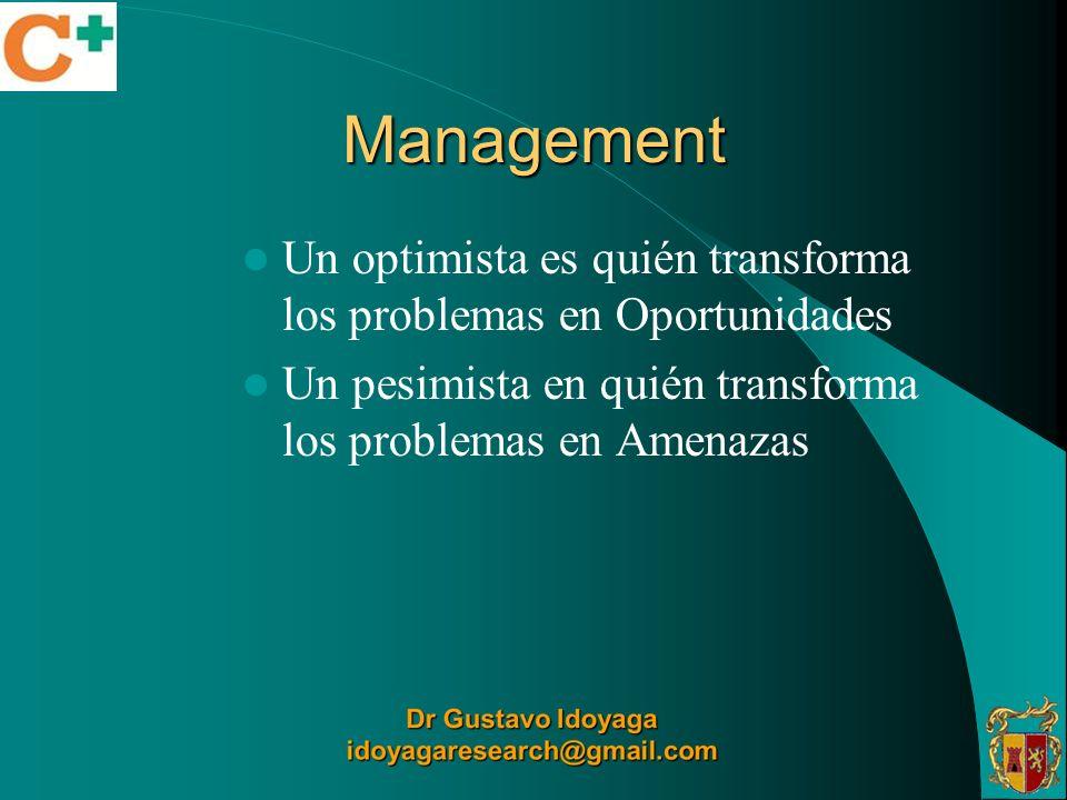 Management Un optimista es quién transforma los problemas en Oportunidades Un pesimista en quién transforma los problemas en Amenazas