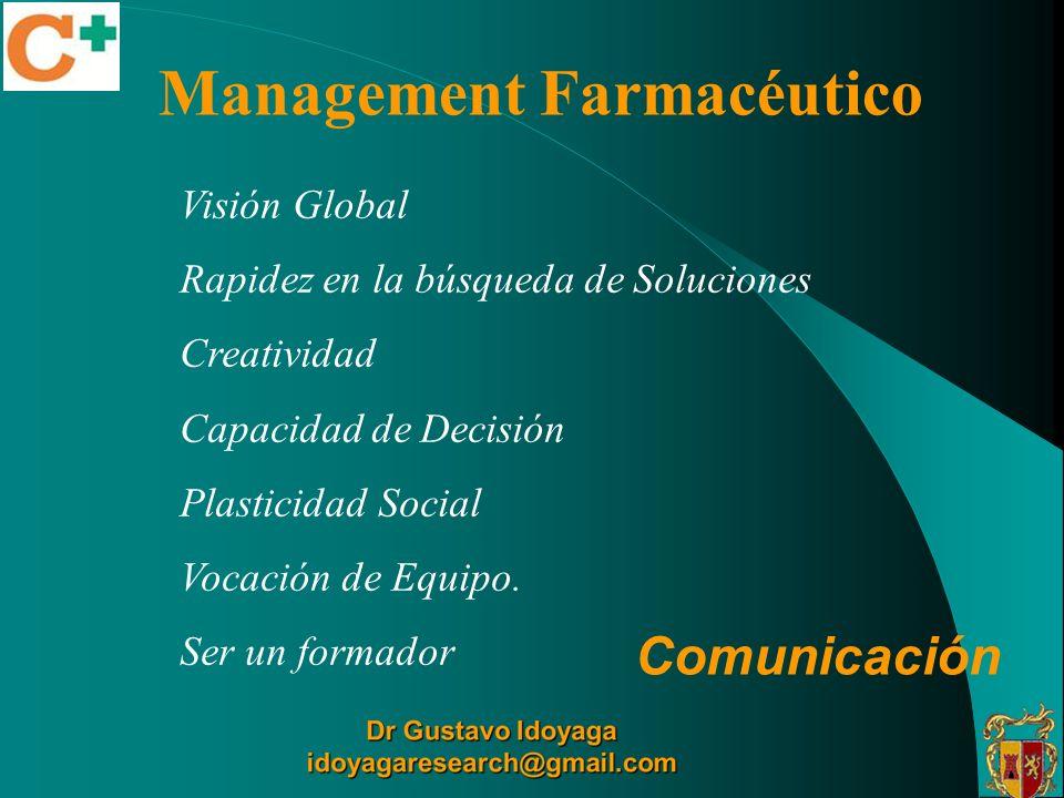 Management Farmacéutico Visión Global Rapidez en la búsqueda de Soluciones Creatividad Capacidad de Decisión Plasticidad Social Vocación de Equipo. Se
