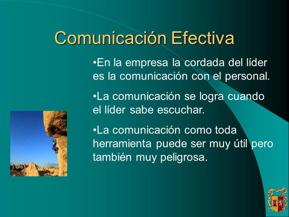 Comunicación Efectiva En la empresa la cordada del líder es la comunicación con el personal. La comunicación se logra cuando el líder sabe escuchar. L