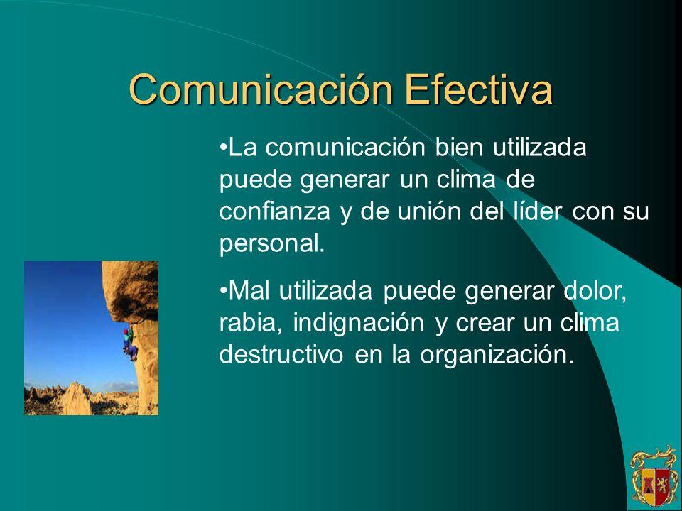 Comunicación Efectiva La comunicación bien utilizada puede generar un clima de confianza y de unión del líder con su personal. Mal utilizada puede gen