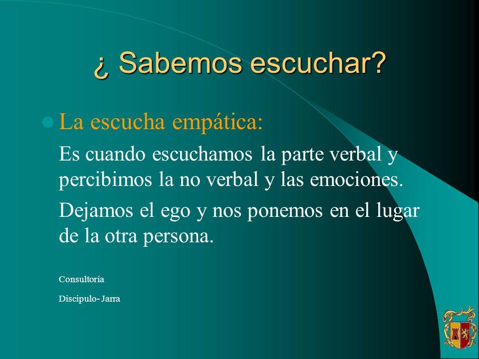 ¿ Sabemos escuchar? La escucha empática: Es cuando escuchamos la parte verbal y percibimos la no verbal y las emociones. Dejamos el ego y nos ponemos