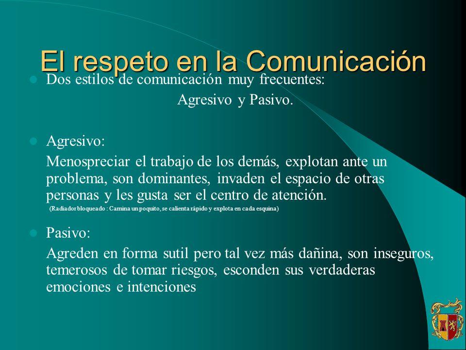 El respeto en la Comunicación Dos estilos de comunicación muy frecuentes: Agresivo y Pasivo. Agresivo: Menospreciar el trabajo de los demás, explotan