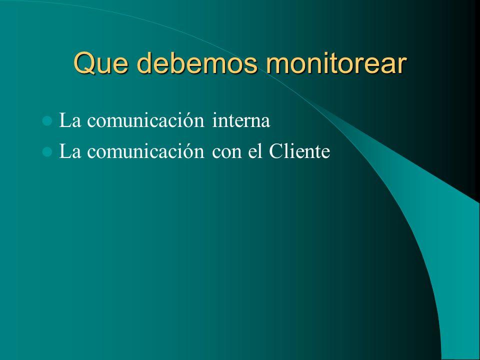 Que debemos monitorear La comunicación interna La comunicación con el Cliente