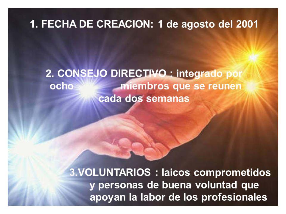 1. FECHA DE CREACION: 1 de agosto del 2001 2. CONSEJO DIRECTIVO : integrado por ocho miembros que se reunen cada dos semanas 3.VOLUNTARIOS : laicos co