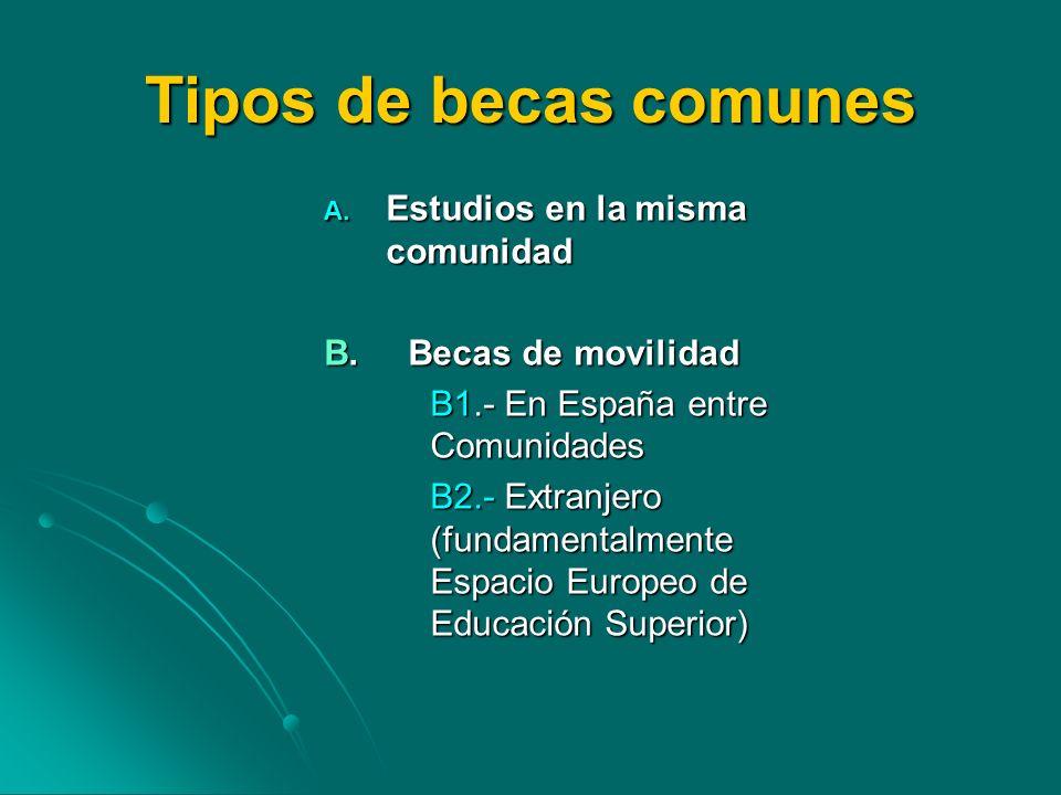 Tipos de becas comunes A. Estudios en la misma comunidad B. Becas de movilidad B1.- En España entre Comunidades B2.- Extranjero (fundamentalmente Espa
