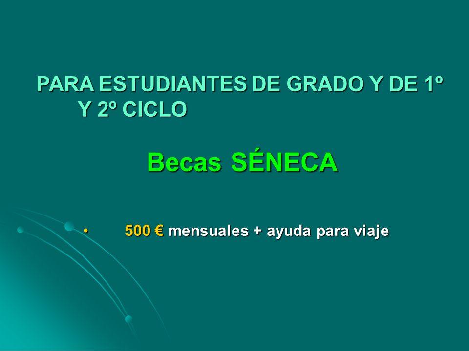 PARA ESTUDIANTES DE GRADO Y DE 1º Y 2º CICLO Becas SÉNECA 500 mensuales + ayuda para viaje500 mensuales + ayuda para viaje
