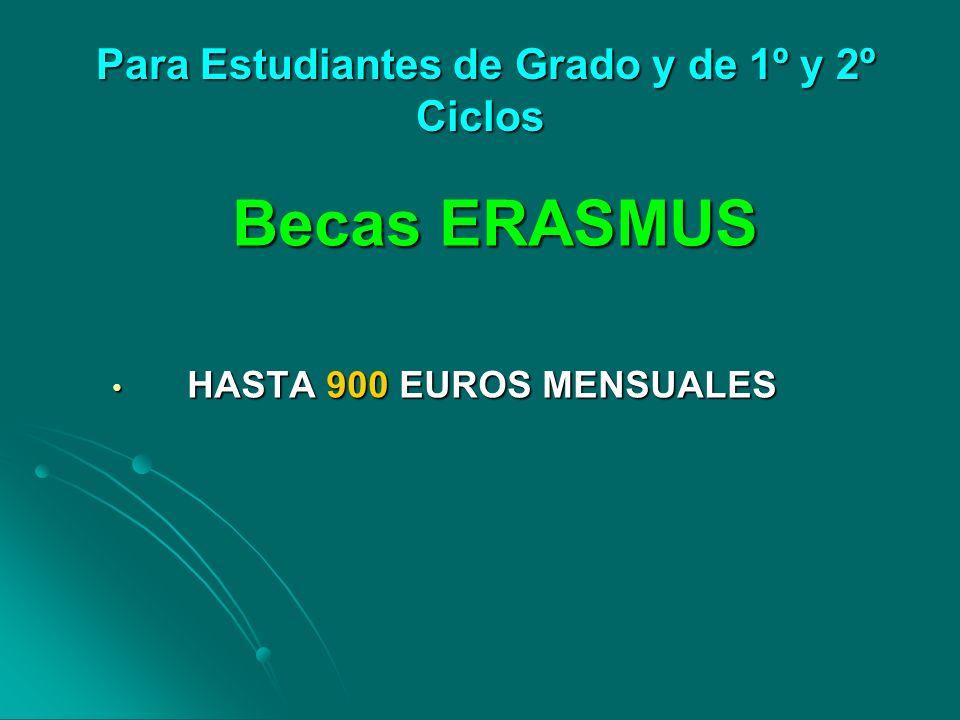 Para Estudiantes de Grado y de 1º y 2º Ciclos Para Estudiantes de Grado y de 1º y 2º Ciclos Becas ERASMUS HASTA 900 EUROS MENSUALES HASTA 900 EUROS ME