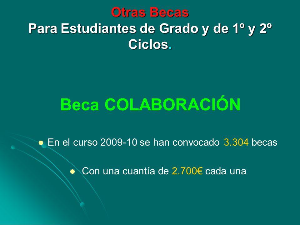 Otras Becas Para Estudiantes de Grado y de 1º y 2º Ciclos. Beca COLABORACIÓN En el curso 2009-10 se han convocado 3.304 becas Con una cuantía de 2.700
