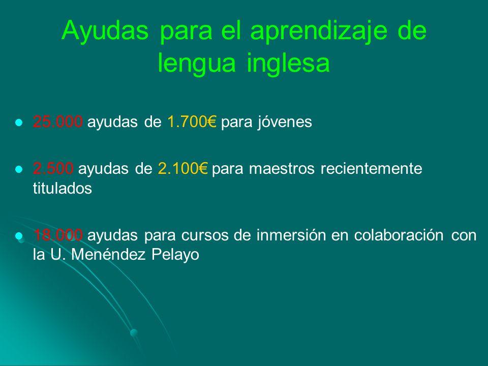 Ayudas para el aprendizaje de lengua inglesa 25.000 ayudas de 1.700 para jóvenes 2.500 ayudas de 2.100 para maestros recientemente titulados 18.000 ay
