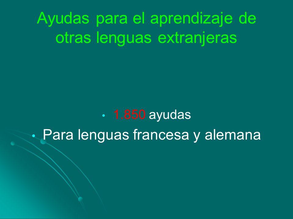 Ayudas para el aprendizaje de otras lenguas extranjeras 1.850 ayudas Para lenguas francesa y alemana