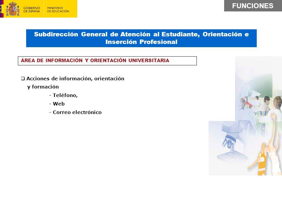 Subdirección General de Atención al Estudiante, Orientación e Inserción Profesional Acciones de información, orientación y formación - Teléfono, - Web