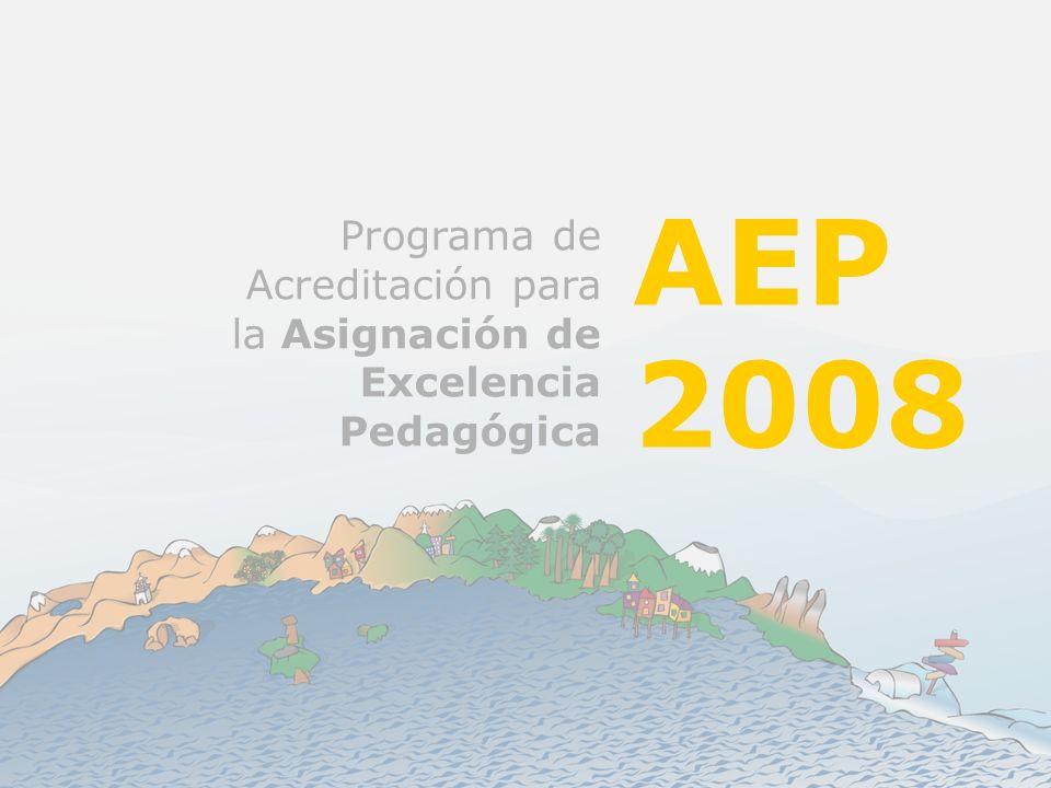Programa AEP 2008 Este año 2008 contaremos con 25 categorías de acreditación.
