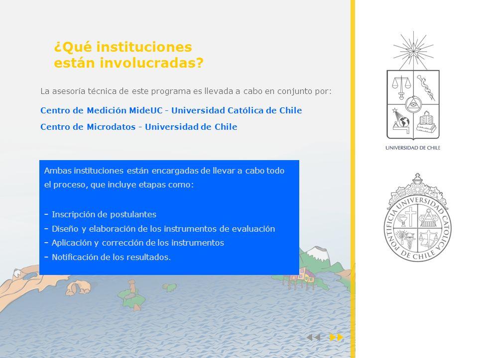 Ambas instituciones están encargadas de llevar a cabo todo el proceso, que incluye etapas como: - Inscripción de postulantes - Diseño y elaboración de los instrumentos de evaluación - Aplicación y corrección de los instrumentos - Notificación de los resultados.