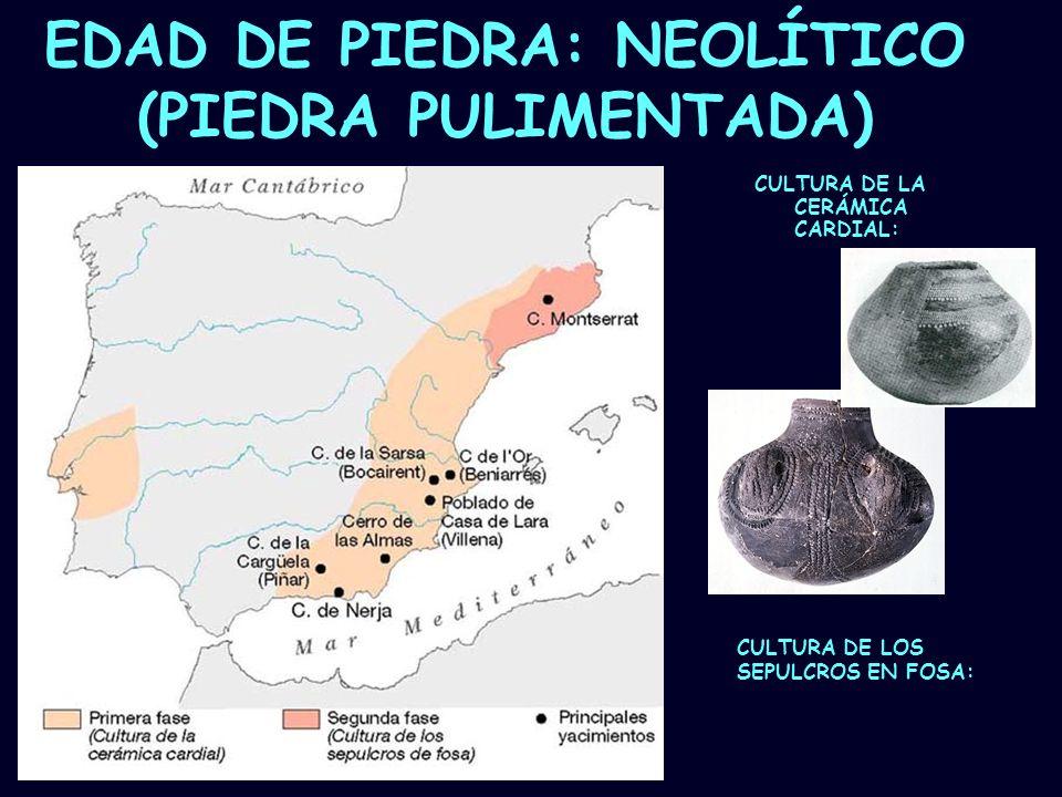 Mª Vvictoria Landa EDAD DE PIEDRA: NEOLÍTICO (PIEDRA PULIMENTADA) CULTURA DE LA CERÁMICA CARDIAL: CULTURA DE LOS SEPULCROS EN FOSA: