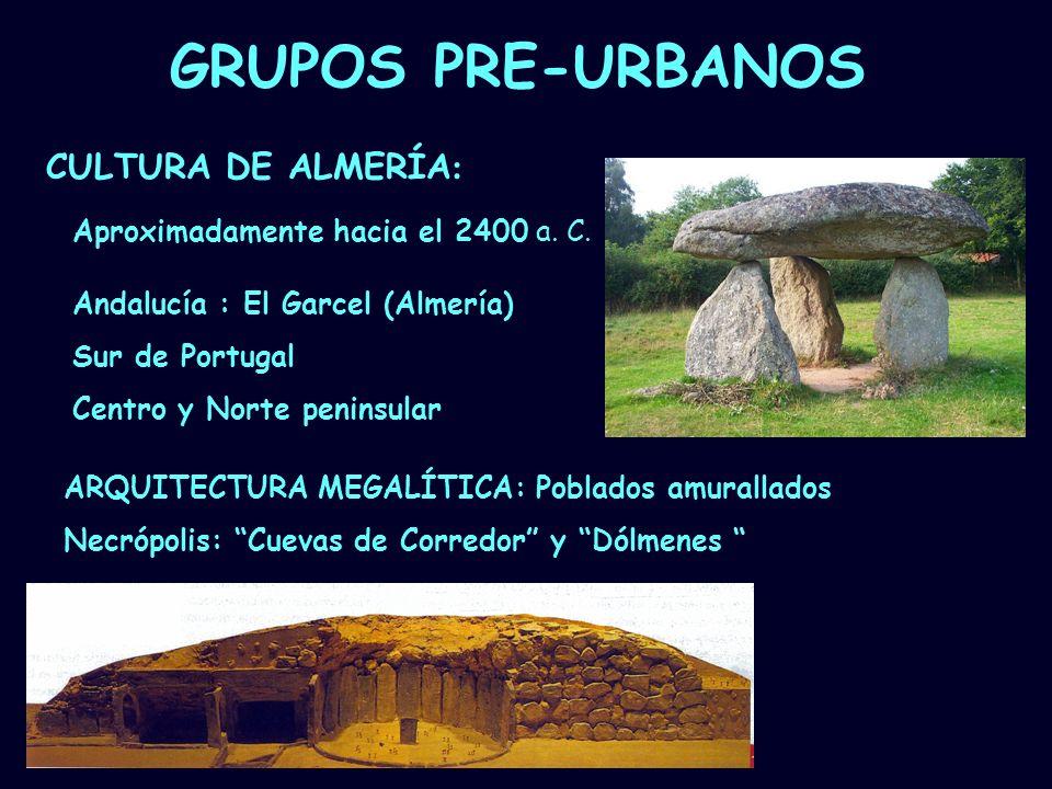 Mª Vvictoria Landa GRUPOS PRE-URBANOS CULTURA DE ALMERÍA : Aproximadamente hacia el 2400 a. C. ARQUITECTURA MEGALÍTICA: Poblados amurallados Necrópoli