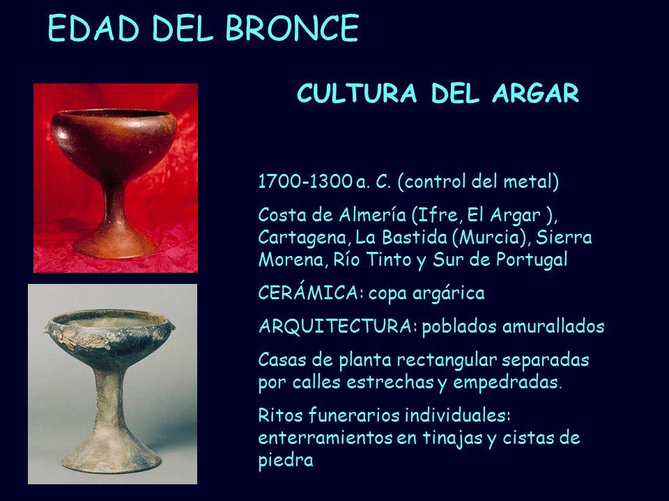 Mª Vvictoria Landa EDAD DEL BRONCE CULTURA DEL ARGAR 1700-1300 a. C. (control del metal) Costa de Almería (Ifre, El Argar ), Cartagena, La Bastida (Mu