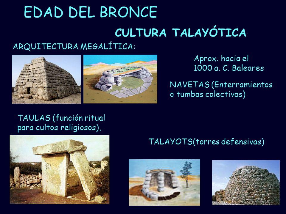 Mª Vvictoria Landa EDAD DEL BRONCE CULTURA TALAYÓTICA NAVETAS (Enterramientos o tumbas colectivas) TAULAS (función ritual para cultos religiosos), ARQ