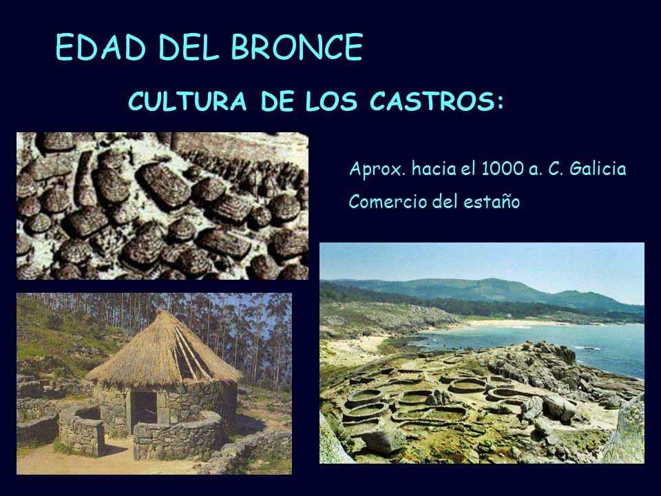 Mª Vvictoria Landa EDAD DEL BRONCE CULTURA DE LOS CASTROS: Aprox. hacia el 1000 a. C. Galicia Comercio del estaño