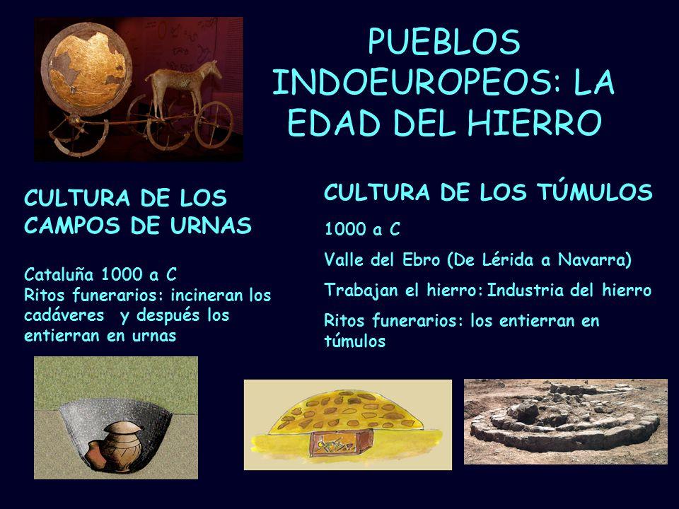 Mª Vvictoria Landa PUEBLOS INDOEUROPEOS: LA EDAD DEL HIERRO Cataluña 1000 a C Ritos funerarios: incineran los cadáveres y después los entierran en urn