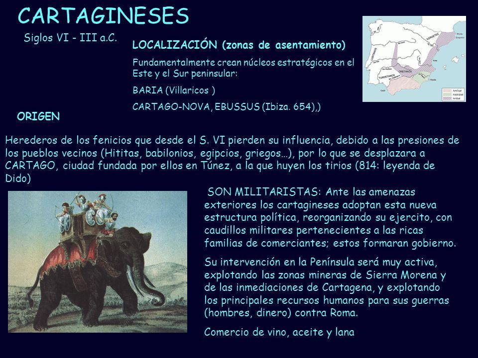 Mª Vvictoria Landa CARTAGINESES Herederos de los fenicios que desde el S. VI pierden su influencia, debido a las presiones de los pueblos vecinos (Hit