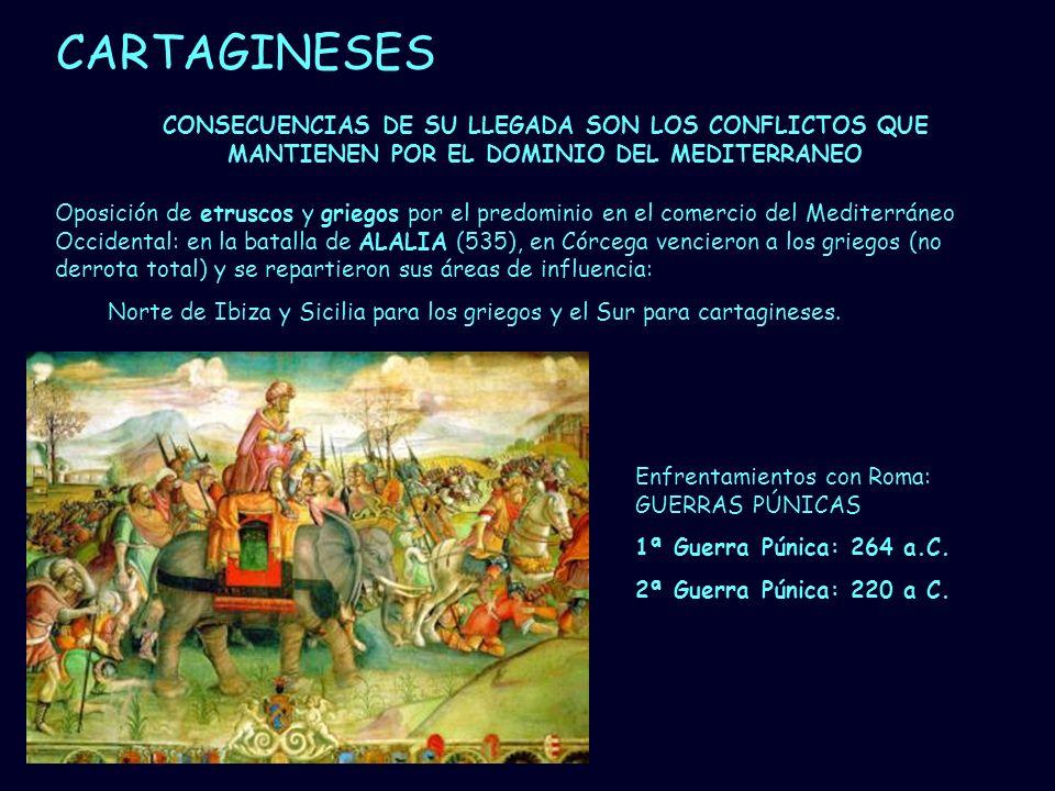 Mª Vvictoria Landa CARTAGINESES Enfrentamientos con Roma: GUERRAS PÚNICAS 1ª Guerra Púnica: 264 a.C. 2ª Guerra Púnica: 220 a C. CONSECUENCIAS DE SU LL