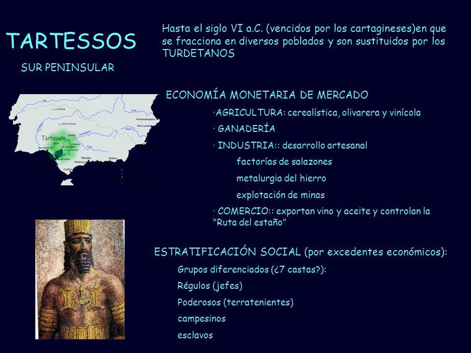 Mª Vvictoria Landa TARTESSOS Hasta el siglo VI a.C. (vencidos por los cartagineses)en que se fracciona en diversos poblados y son sustituidos por los