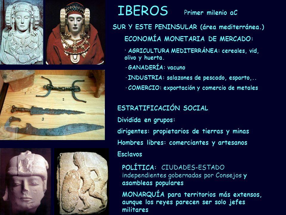 Mª Vvictoria Landa IBEROS Primer milenio aC ECONOMÍA MONETARIA DE MERCADO: · AGRICULTURA MEDITERRÁNEA: cereales, vid, olivo y huerta. ·GANADERÍA: vacu