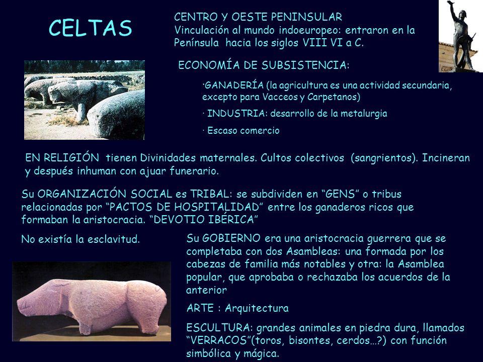 Mª Vvictoria Landa CELTAS ECONOMÍA DE SUBSISTENCIA: · GANADERÍA (la agricultura es una actividad secundaria, excepto para Vacceos y Carpetanos) · INDU