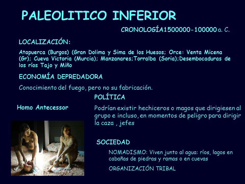 Mª Vvictoria Landa PALEOLITICO INFERIOR ECONOMÍA DEPREDADORA Conocimiento del fuego, pero no su fabricación. CRONOLOGÍA1500000-100000 a. C. SOCIEDAD N