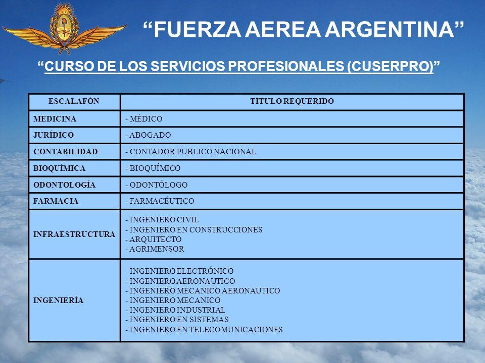 FUERZA AEREA ARGENTINA CURSO DE LOS SERVICIOS PROFESIONALES (CUSERPRO) ESCALAFÓNTÍTULO REQUERIDO MEDICINA- MÉDICO JURÍDICO- ABOGADO CONTABILIDAD- CONT