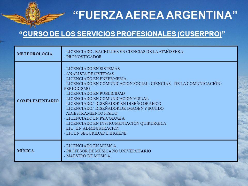 FUERZA AEREA ARGENTINA METEOROLOGÍA - LICENCIADO / BACHILLER EN CIENCIAS DE LA ATMÓSFERA - PRONOSTICADOR COMPLEMENTARIO - LICENCIADO EN SISTEMAS - ANA