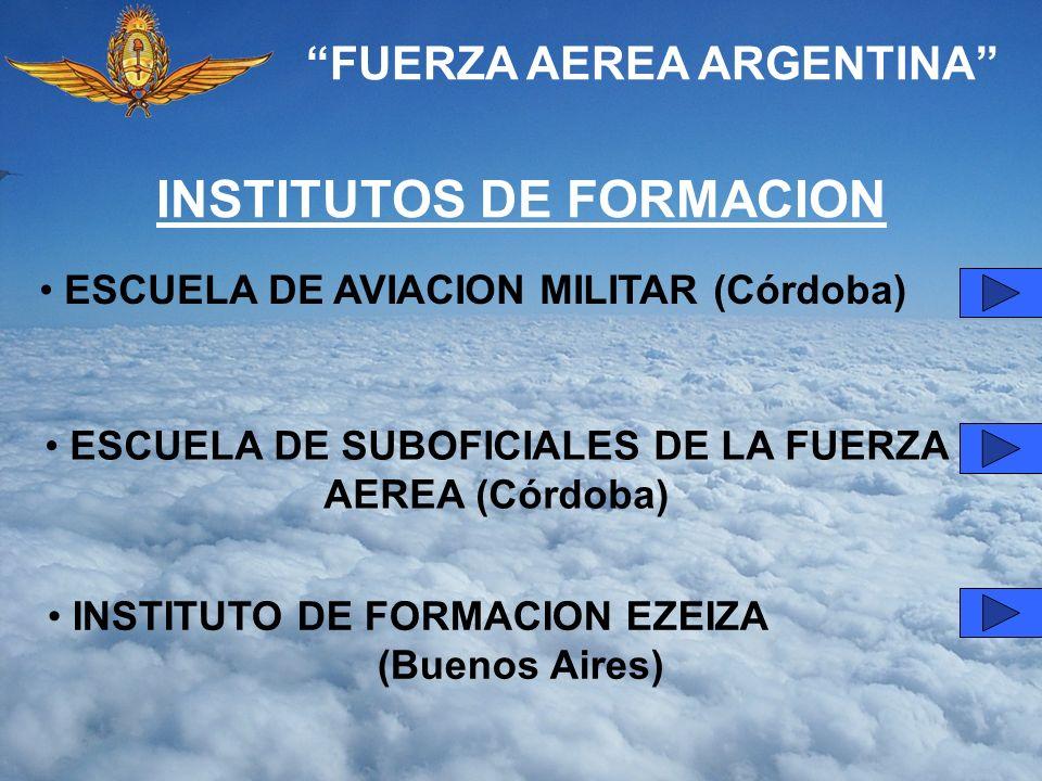 FUERZA AEREA ARGENTINA INSTITUTOS DE FORMACION ESCUELA DE AVIACION MILITAR (Córdoba) ESCUELA DE SUBOFICIALES DE LA FUERZA AEREA (Córdoba) INSTITUTO DE