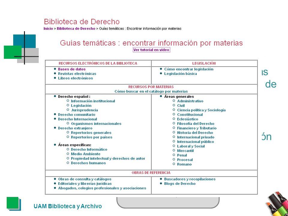 Otros recursos Por último, también están disponibles las guías temáticas, que son una selección de recursos de información agrupados por áreas de conocimiento.