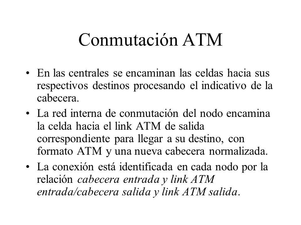 Conmutación ATM En las centrales se encaminan las celdas hacia sus respectivos destinos procesando el indicativo de la cabecera. La red interna de con
