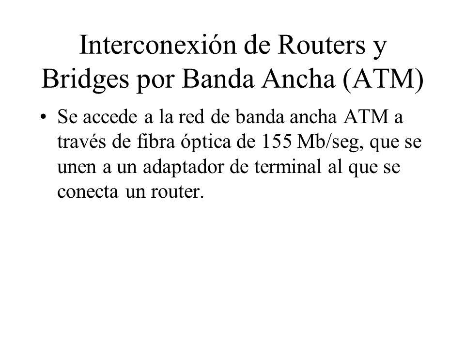 Interconexión de Routers y Bridges por Banda Ancha (ATM) Se accede a la red de banda ancha ATM a través de fibra óptica de 155 Mb/seg, que se unen a u